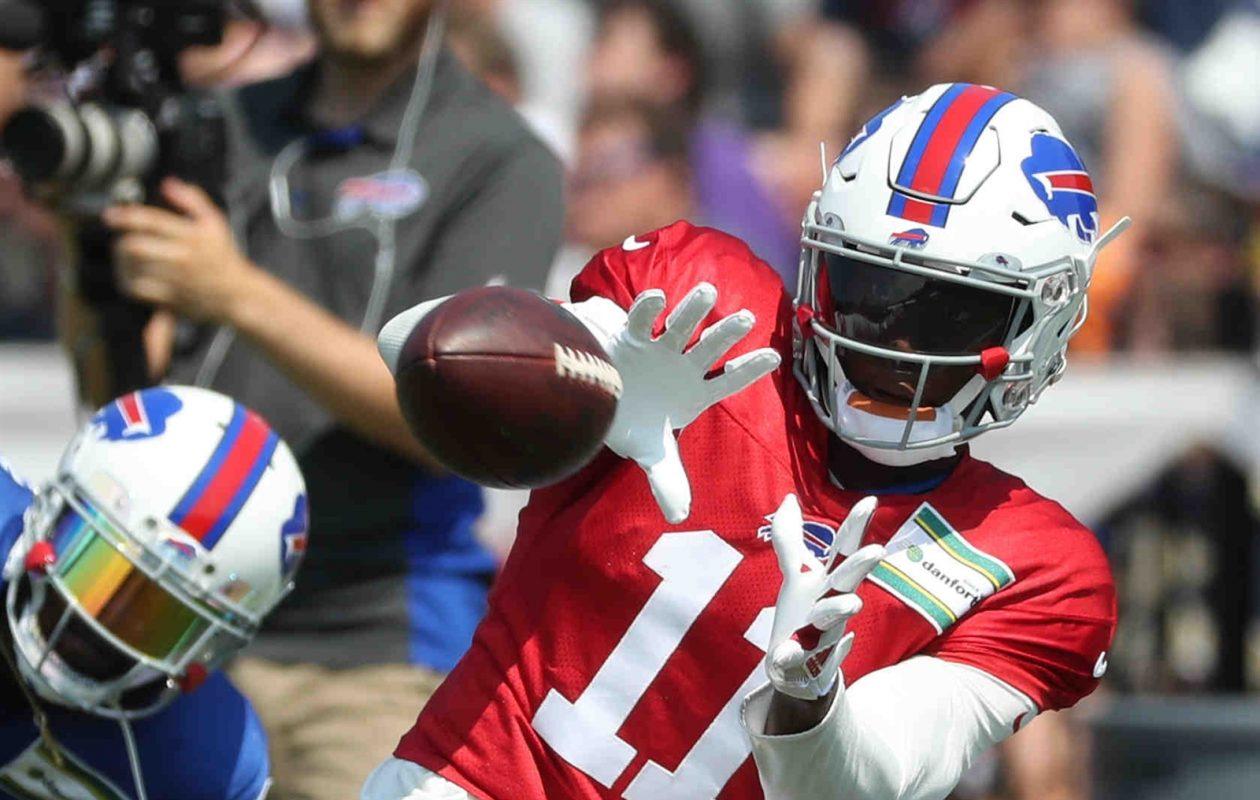 Bills receiver Zay Jones returned to the practice field Sunday at training camp. (James P. McCoy/Buffalo News)