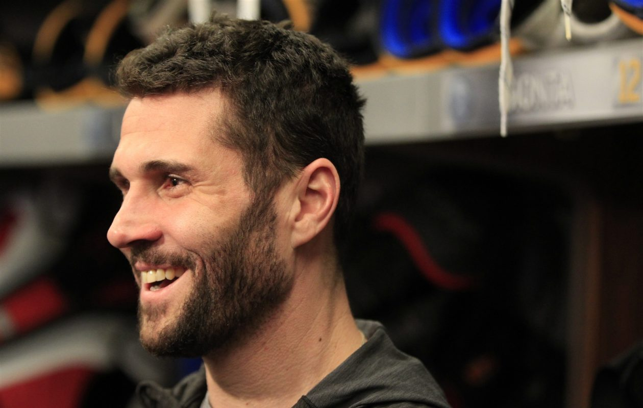 Brian Gionta meets with the media on locker clean-out day at the First Niagara Center on April 10, 2016.(Harry Scull Jr./Buffalo News)