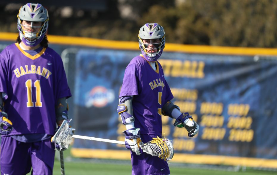 Albany's Connor Fields walks away after scoring a goal in the first half at Canisius College on Tuesday, March 21, 2017. (James P. McCoy/Buffalo News)