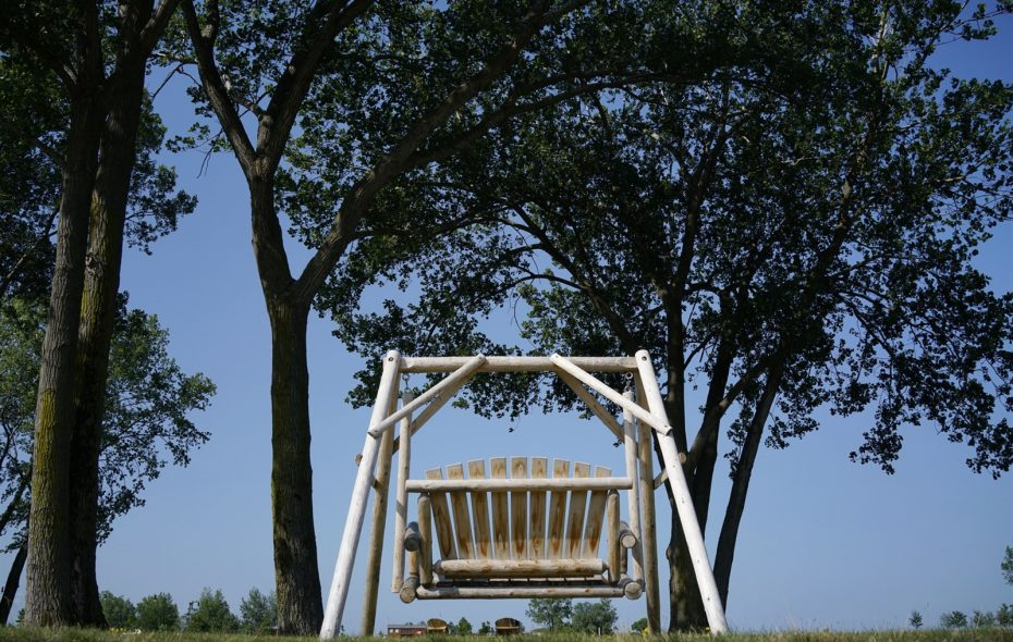 A swinging chair in the meadow at Wilkeson Pointe on the Outer Harbor.  (Derek Gee/Buffalo News file photo)