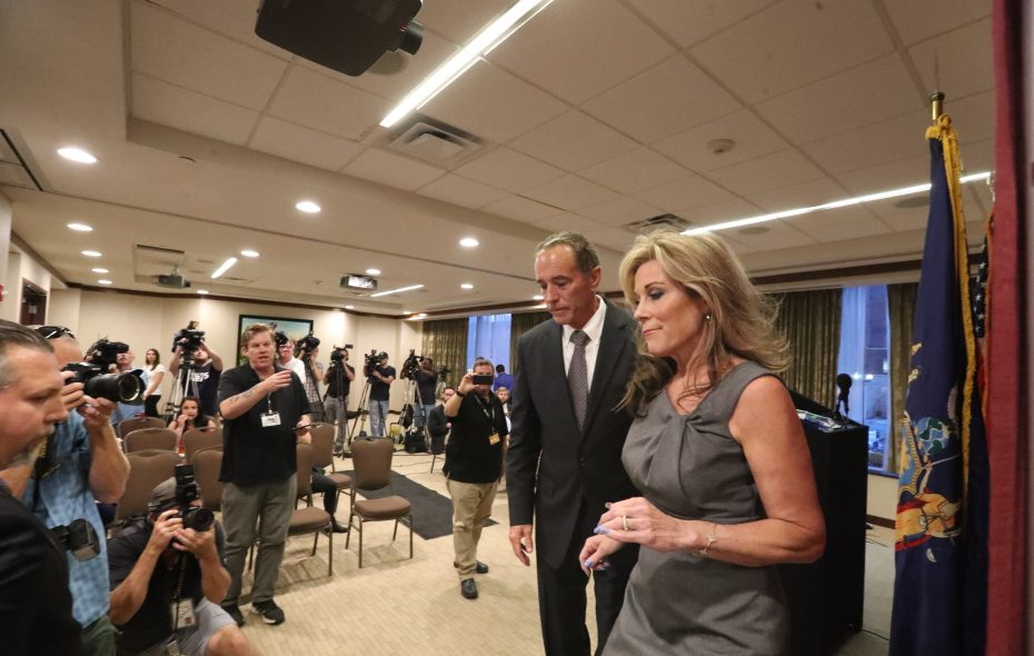 Rep. Chris Collins held a news conference with his wife, Mary, at his side in August after being charged with an insider trading scheme. (James P. McCoy/News file photo)