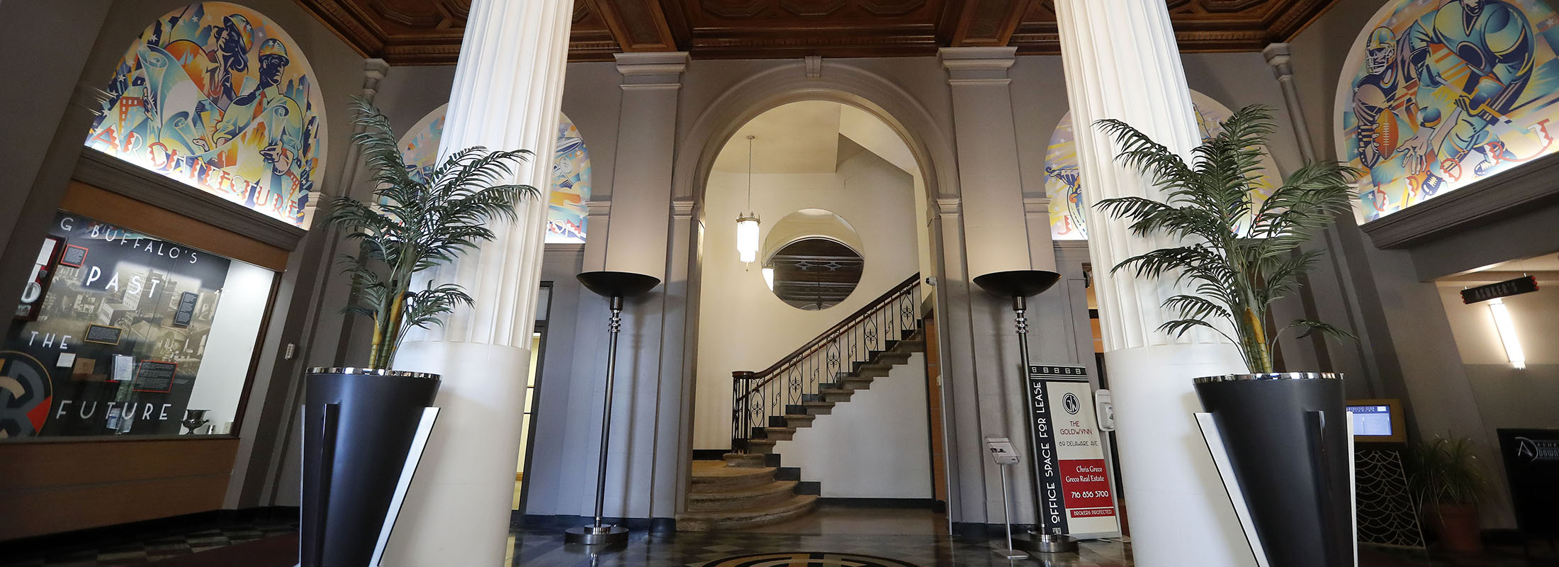 The lobby of the recently renovated former Buffalo Athletic Club on Delaware Avenue in Buffalo. (Mark Mulville/Buffalo News)