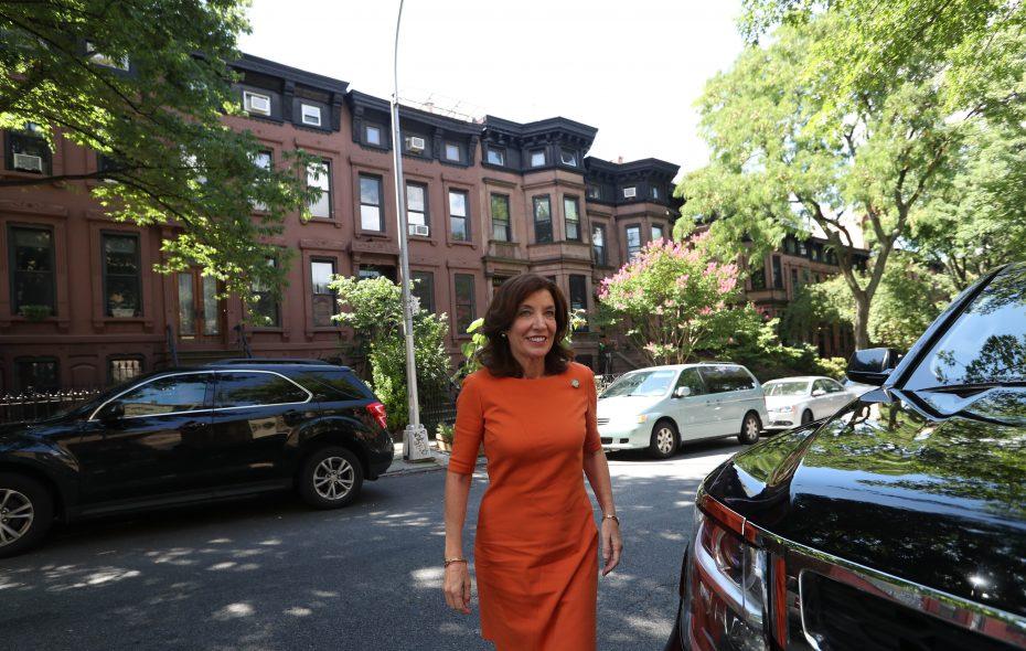 Lt. Gov. Kathy Hochul campaigns in Brooklyn, Thursday, Aug. 30, 2018.  (Sharon Cantillon/News file photo)