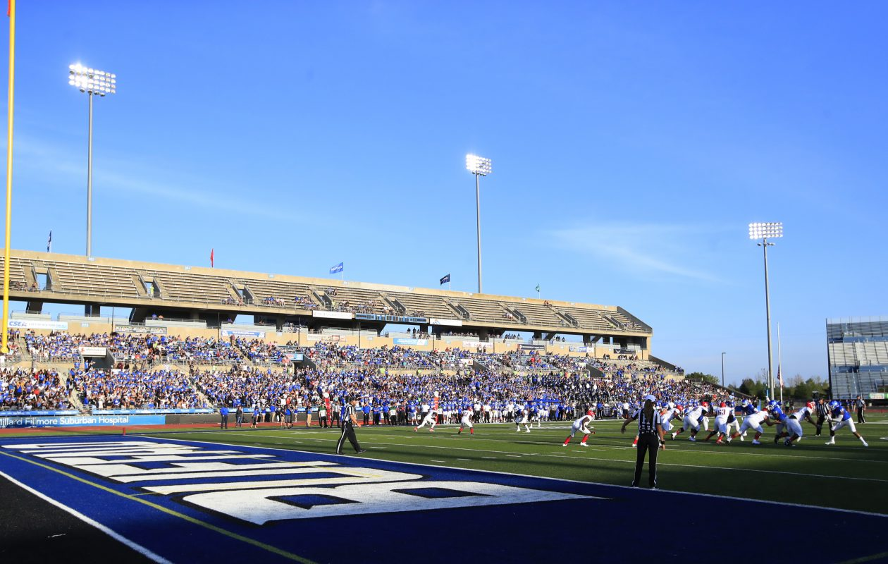 The University at Buffalo is expecting the stands at UB Stadium to be more full than they were when the Bulls played Delaware State on Saturday, Sept. 1, 2018. (Harry Scull Jr./ Buffalo News)