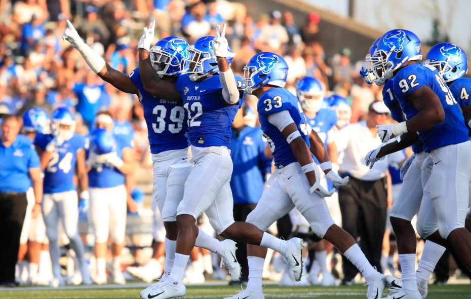 University at Buffalo defensive back Devon Russell celebrates an interception. (Harry Scull Jr./Buffalo News)