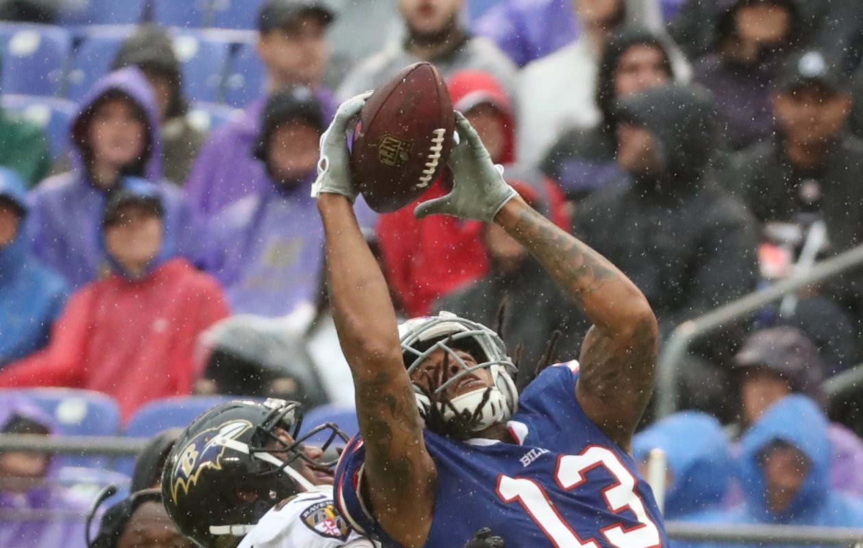 Bills wide receiver Kelvin Benjamin couldn't come up with this contested catch against Ravens cornerback Marlon Humphrey on Sunday. (James P. McCoy/Buffalo News)