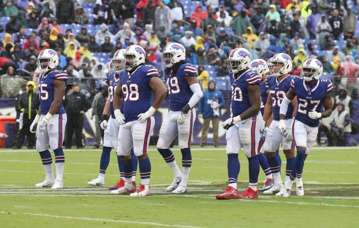 The Bills defense lines up against the Ravens. (James P. McCoy/Buffalo News)