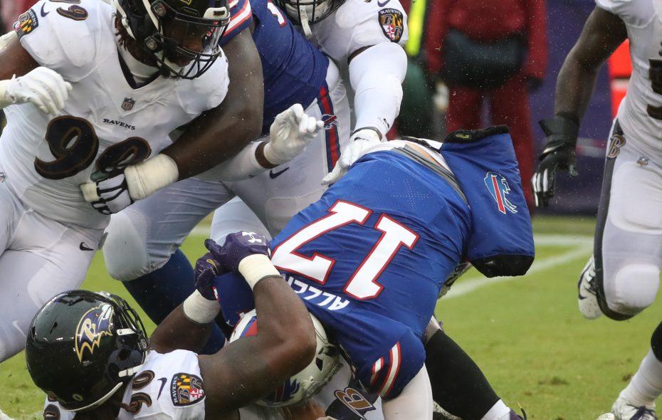 Bills quarterback Josh Allen is sacked by Ravens linebacker Za'Darius Smith. (James P. McCoy/Buffalo News