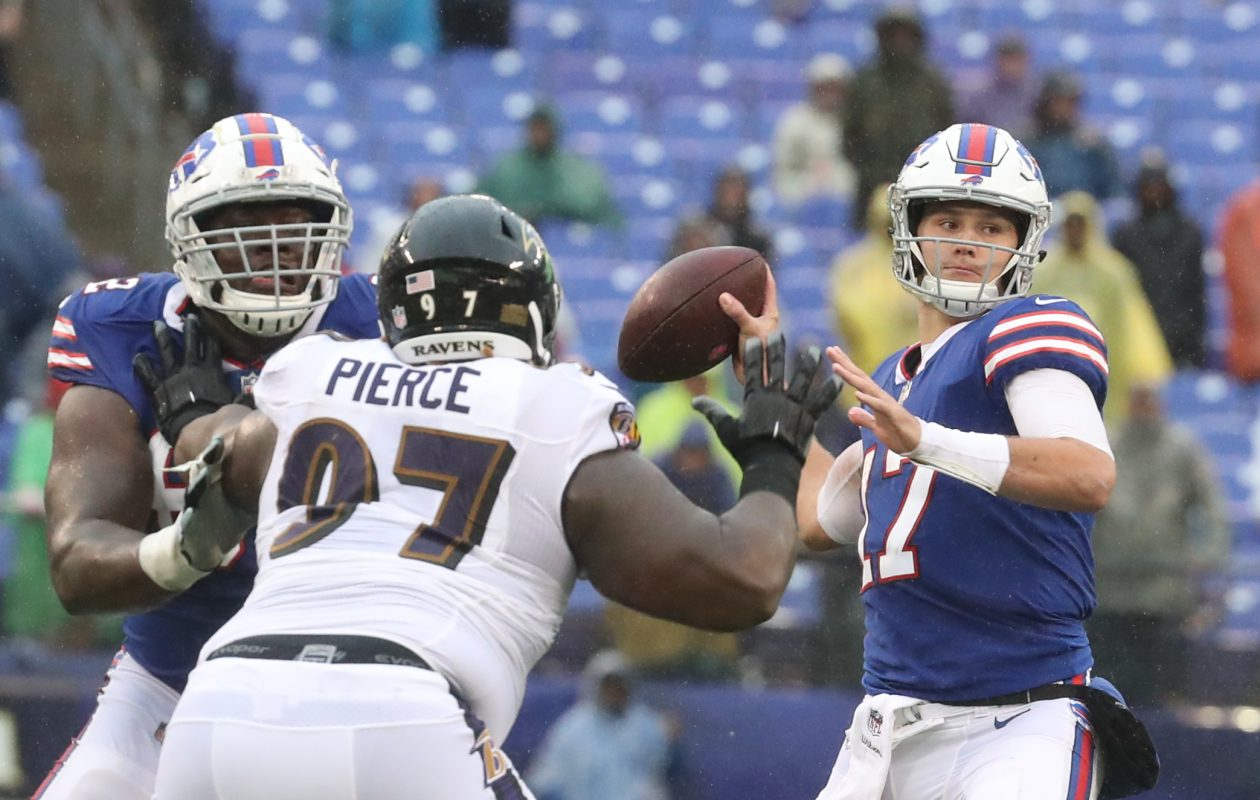 Josh Allen finished 6 of 15 for 74 yards and a 56.0 passer rating. (James P. McCoy/Buffalo News)