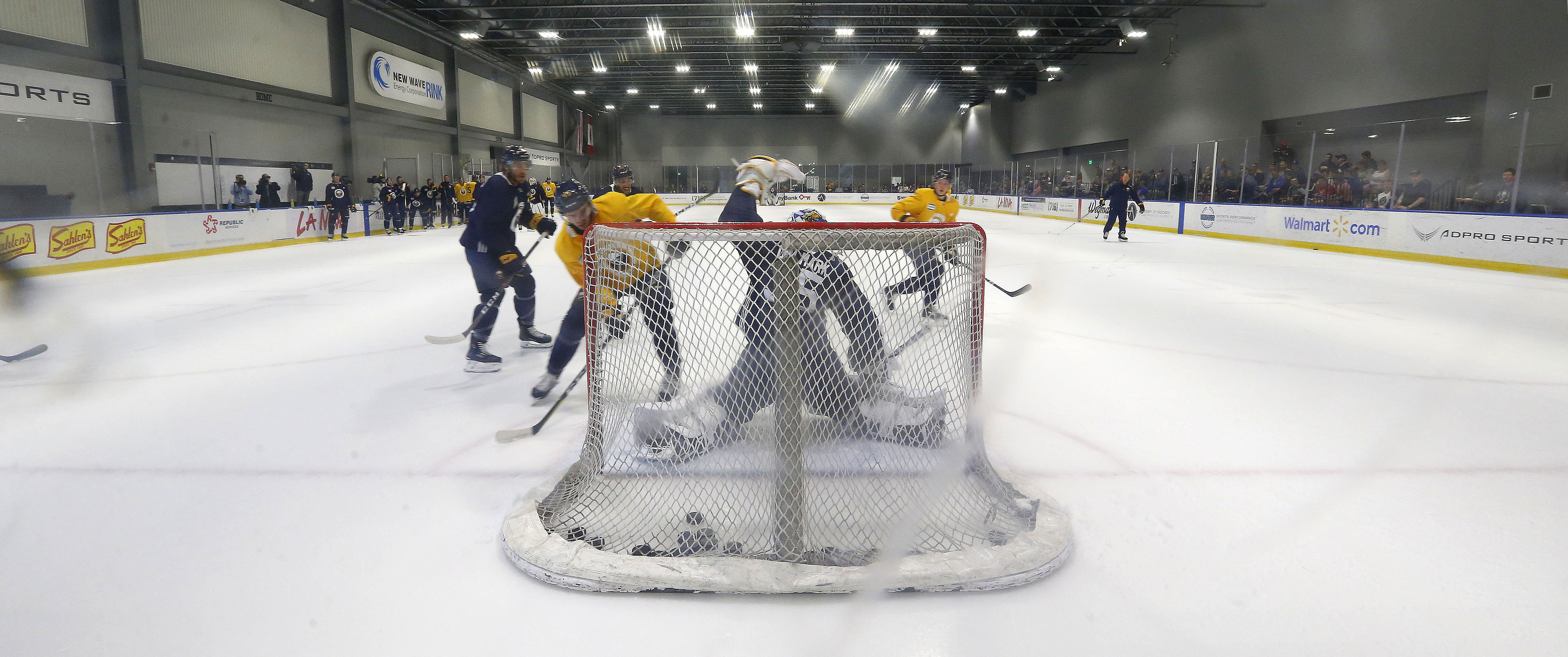 Goalie Linus Ullmark makes a save during the first day of on-ice drills at HarborCenter on Sept. 14. (Mark Mulville/Buffalo News)