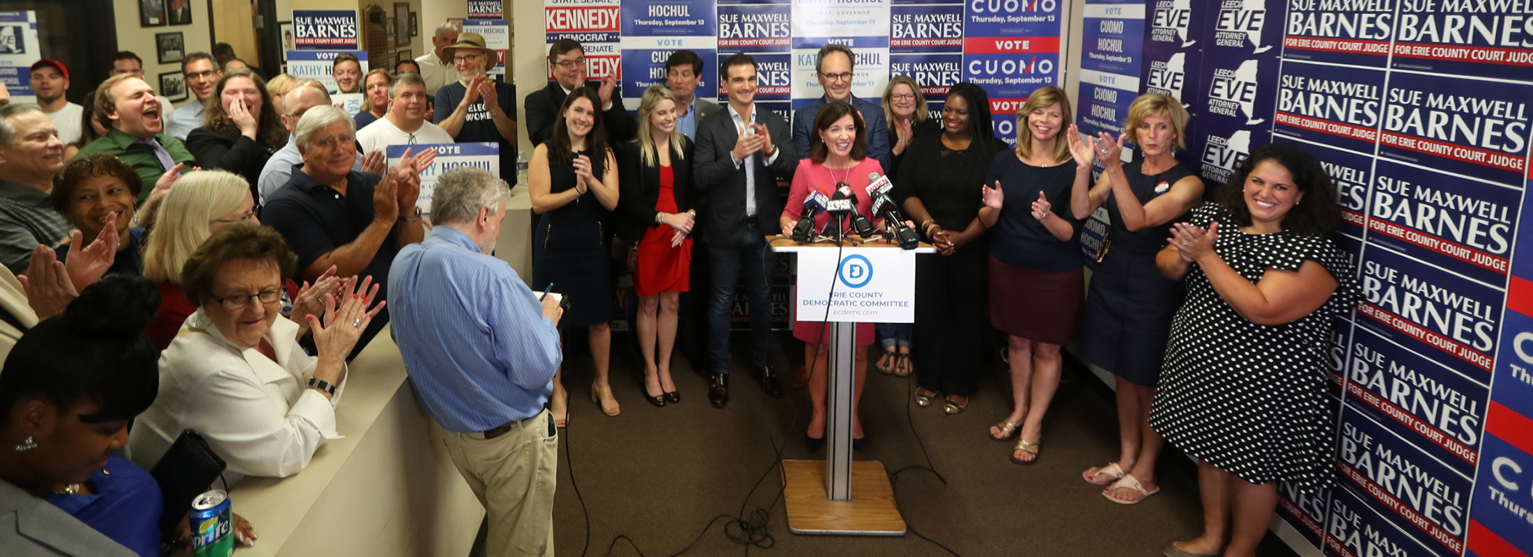 Incumbent Democratic Lt. Gov. Kathy Hochul thanks Western New York voters for putting her over the top in primary race.  (John Hickey/Buffalo News)
