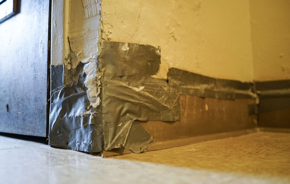 Damage to the wall was evident in a kitchen at Langfield Homes after repair work was completed last year (Derek Gee/Buffalo News)