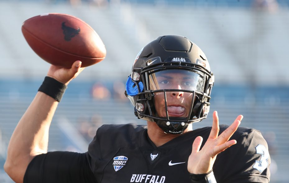 University at Buffalo quarterback Tyree Jackson threw for 188 yards and two touchdowns in the first half Tuesday against Miami (Ohio). (James P. McCoy/News file photo)