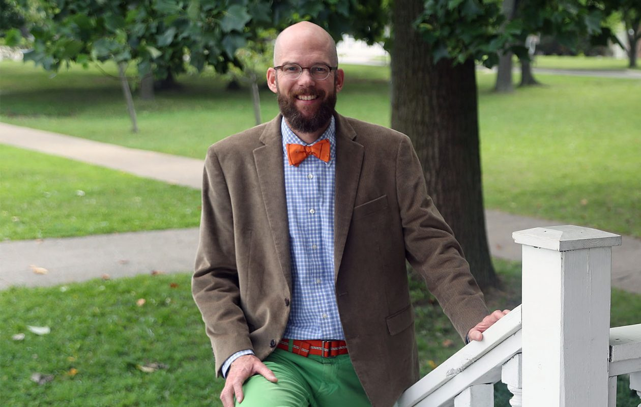 Jeremy Besch is dressed for a day at Park School of Buffalo, where he is  head of school. (Sharon Cantillon/Buffalo News)