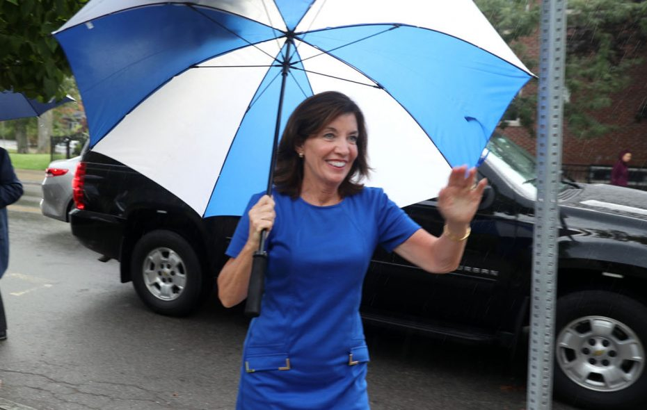 Lt. Gov. Kathy Hochul greets voters at Unitarian Universalist Church in Buffalo last September. She told an interviewer this week that she has never tried pot and never will. (John Hickey/Buffalo News)