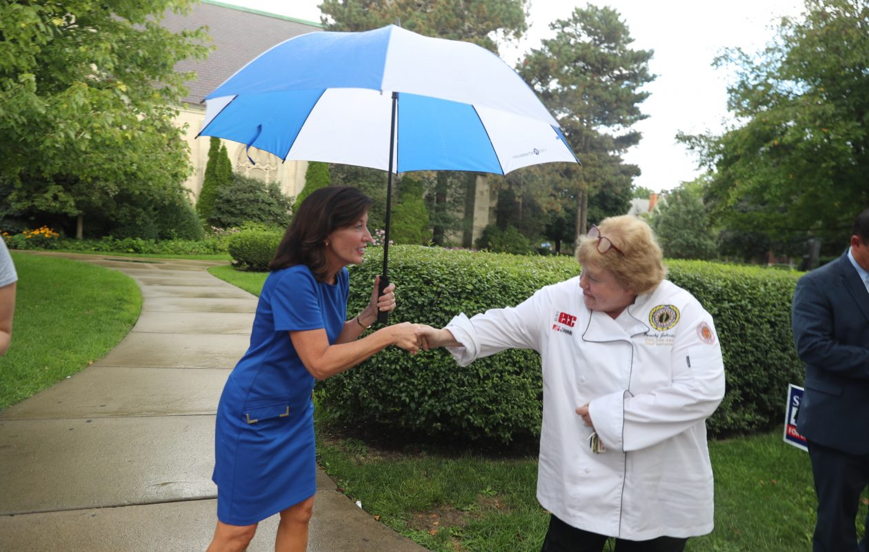Lt. Gov. Kathy Hochul greets voter Dorothy Johnston on Thursday at the Unitarian Universalist Church on Elmwood Avenue. (John Hickey/Buffalo News)