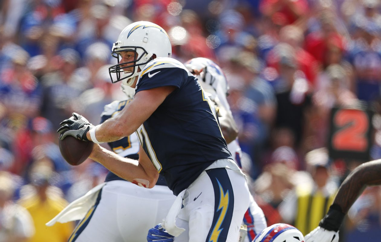 Trent Murphy pressures Philip Rivers in the second quarter of the Bills' recent game against the San Diego Chargers. (Mark Mulville/News file photo)