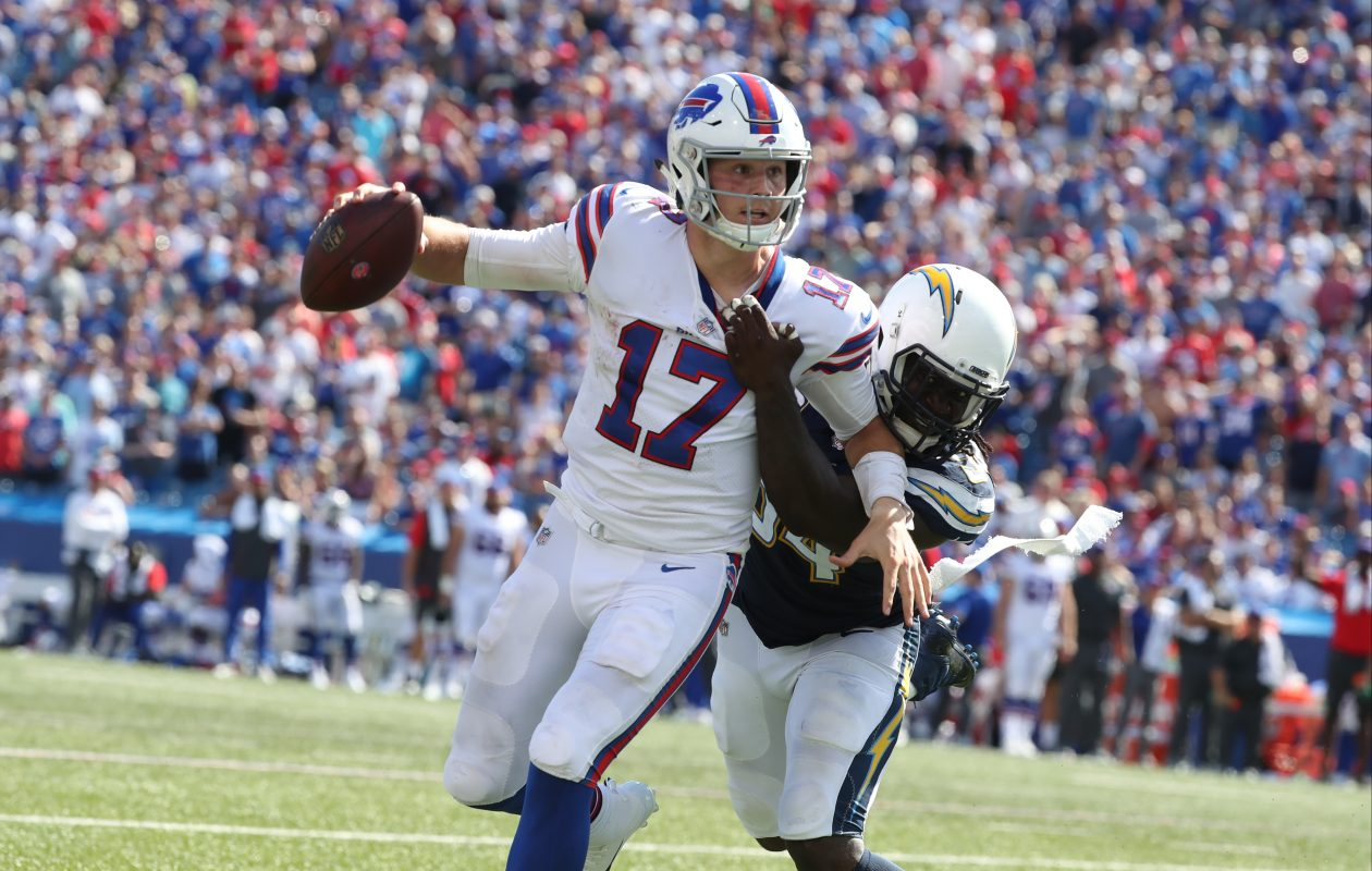 Bills quarterback Josh Allen has felt plenty of heat through the first two weeks of the season. (James P. McCoy/Buffalo News)