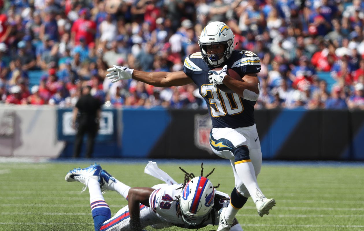 Bills linebacker Tremaine Edmunds gets beat by Chargers running back Austin Ekeler. (James P. McCoy/Buffalo News)