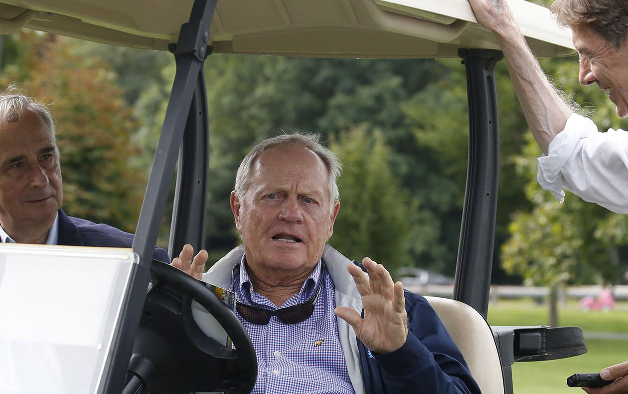 Jack Nicklaus, center, sitting with Olmsted Parks scholar Francis Kowsky, as he talked with Kevin Gaughan last summer during a tour of Buffalo's Delaware Park golf course. (Robert Kirkham/Buffalo News)