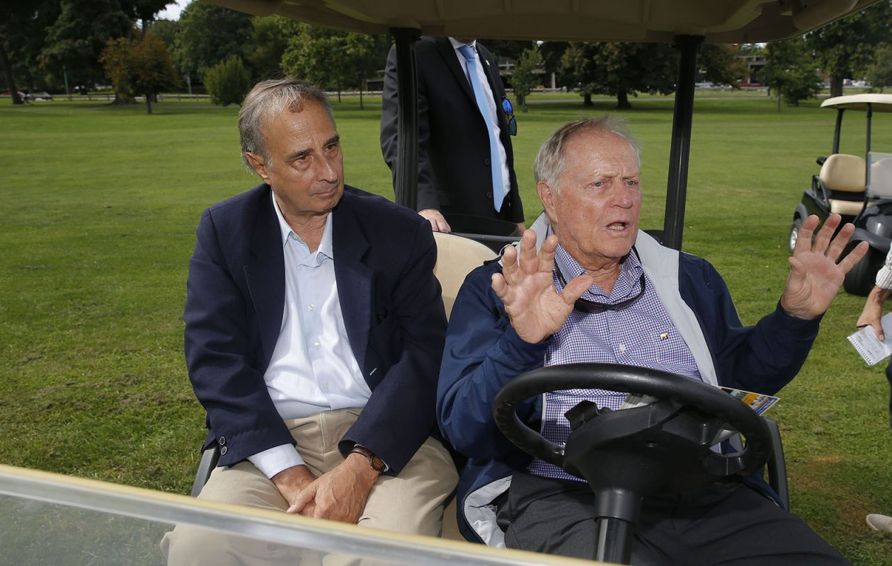 Golf legend Jack Nicklaus, right, sitting with Olmsted Parks scholar Francis R. Kowsky at Delaware Park. (Robert Kirkham/News file photo)