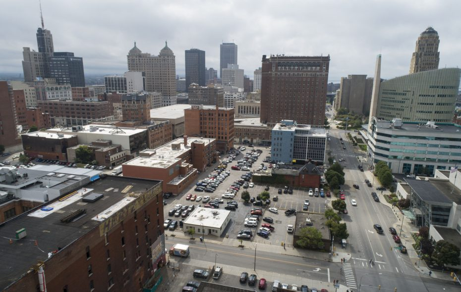 A rear portion of the Statler building, the block north (shown in the foreground) along with the current convention center has been identified as a potential site for a new convention center.  (Derek Gee/Buffalo News)