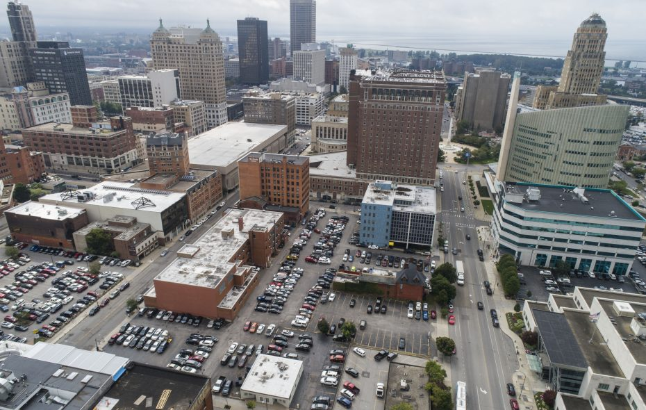 A portion of the Statler, the block north (foreground) along with the existing Buffalo Niagara Convention Center has been identified as a potential site for an expanded convention center downtown. (Derek Gee/Buffalo News)