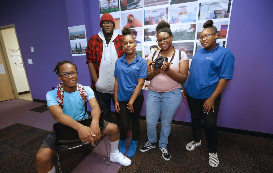 Students that were involved in the documentary are, from left, Kaseem Harris, Zaire Goodman, Breanna Roberts, Dominique Scruggs and Savannah Worth. This was at the Buffalo Center for Arts and Technology on Main Street in Buffalo on Tuesday, Sept. 18, 2018. (Robert Kirkham/Buffalo News)