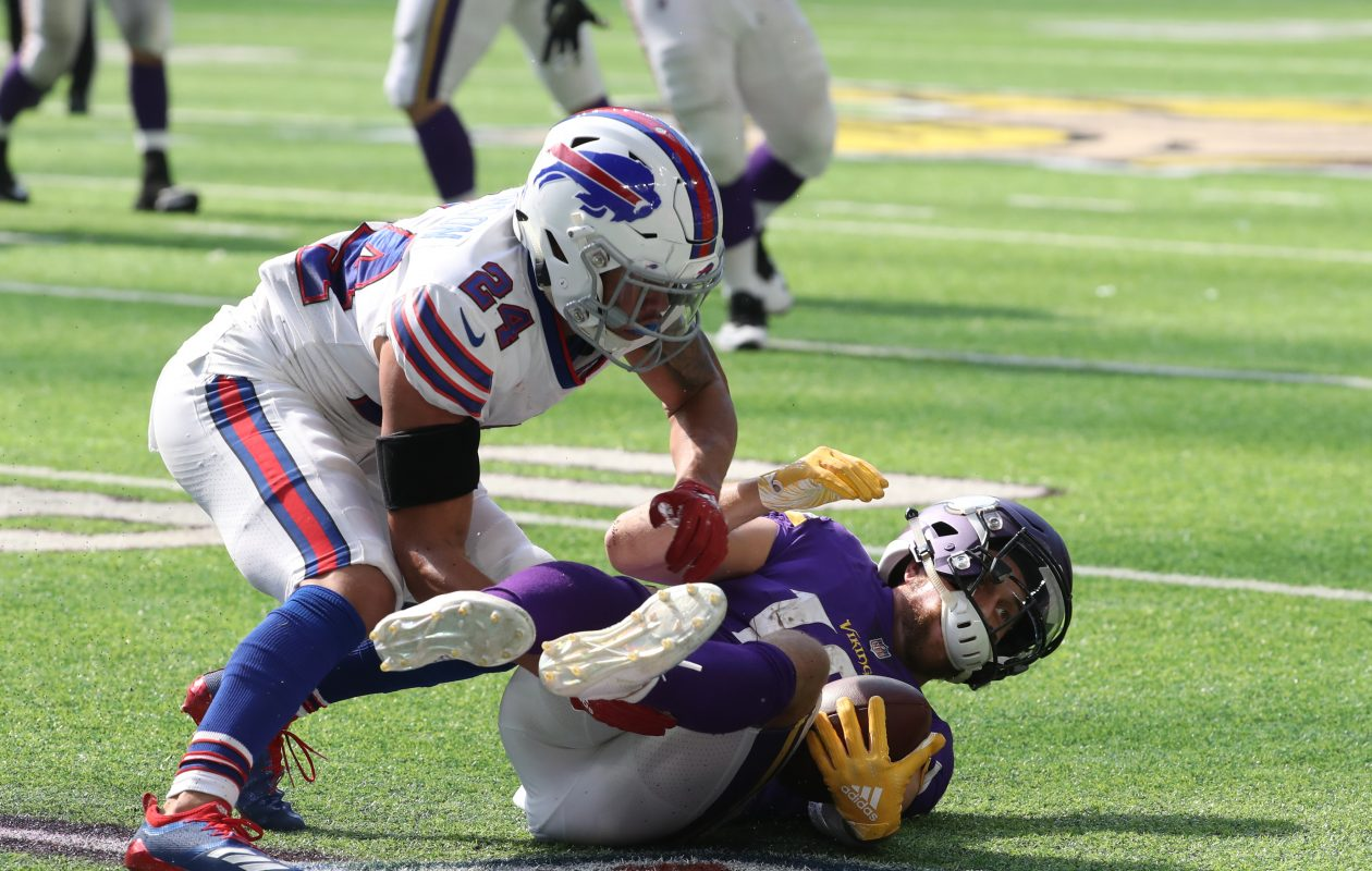 Bills cornerback Taron Johnson doesn't want to change his physical style in 2019. (James P. McCoy/Buffalo News)