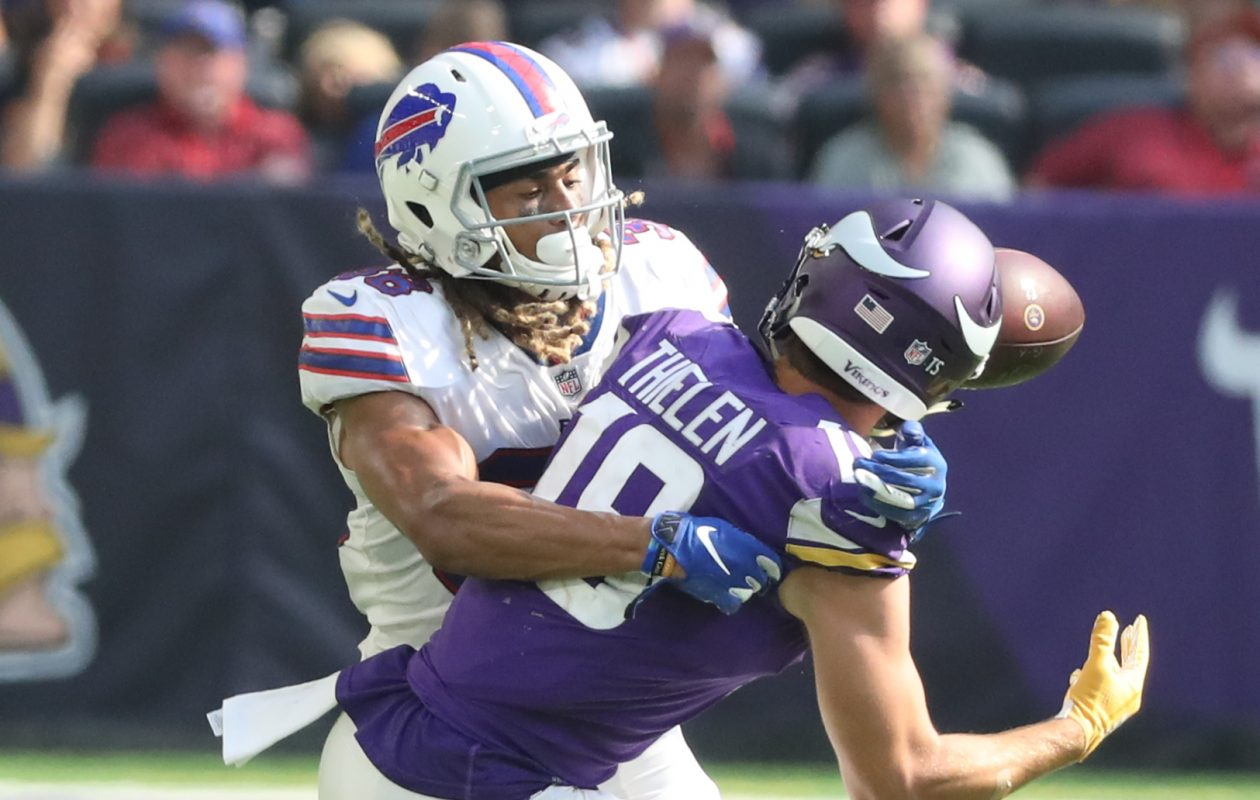 Bills cornerback Ryan Lewis was pressed into duty Sunday, but responded with a solid game. (James P. McCoy/Buffalo News)