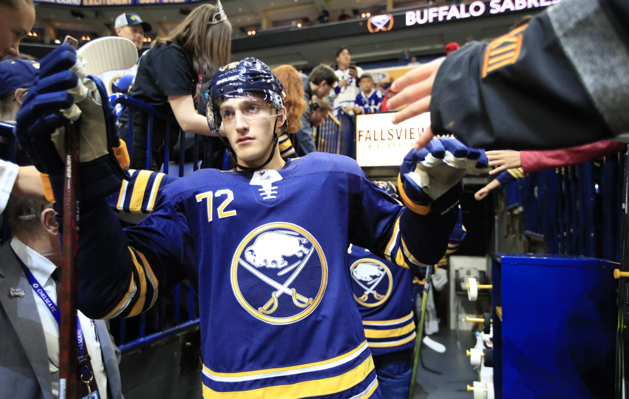 Tage Thompson, in the thick of the roster battles, makes his way to pregame prior to playing the Toronto Maple Leafs at KeyBank Center on Saturday. (Harry Scull Jr./ Buffalo News).