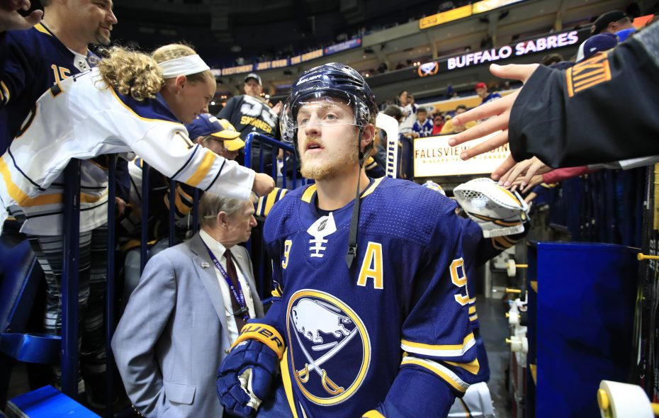 Jack Eichel played with the retiring Brian Gionta during the first two years of his NHL career. (Harry Scull Jr./Buffalo News)