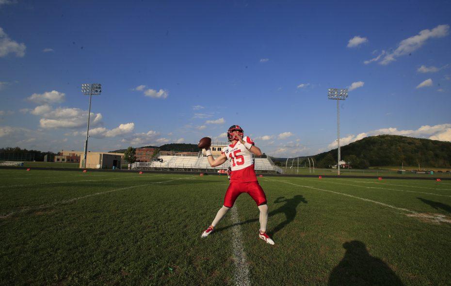Southwestern  quarterback Cole Snyder throws during pregame warmups. (Harry Scull Jr./Buffalo News)