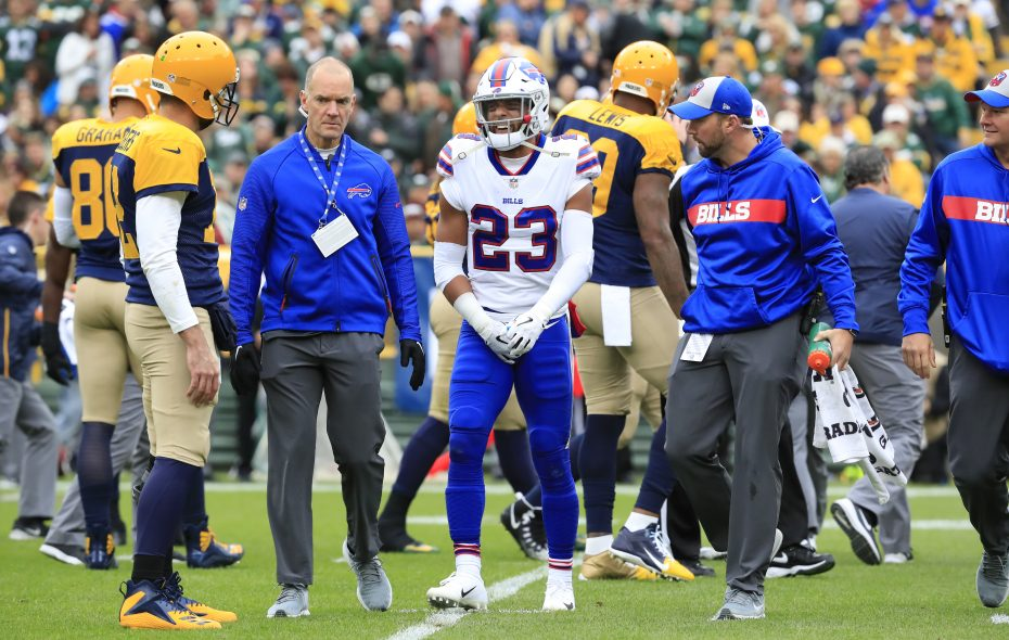 Bills safety Micah Hyde was knocked out of the Week 4 game against Green Bay by a groin injury in the first quarter. (Harry Scull Jr./Buffalo News)
