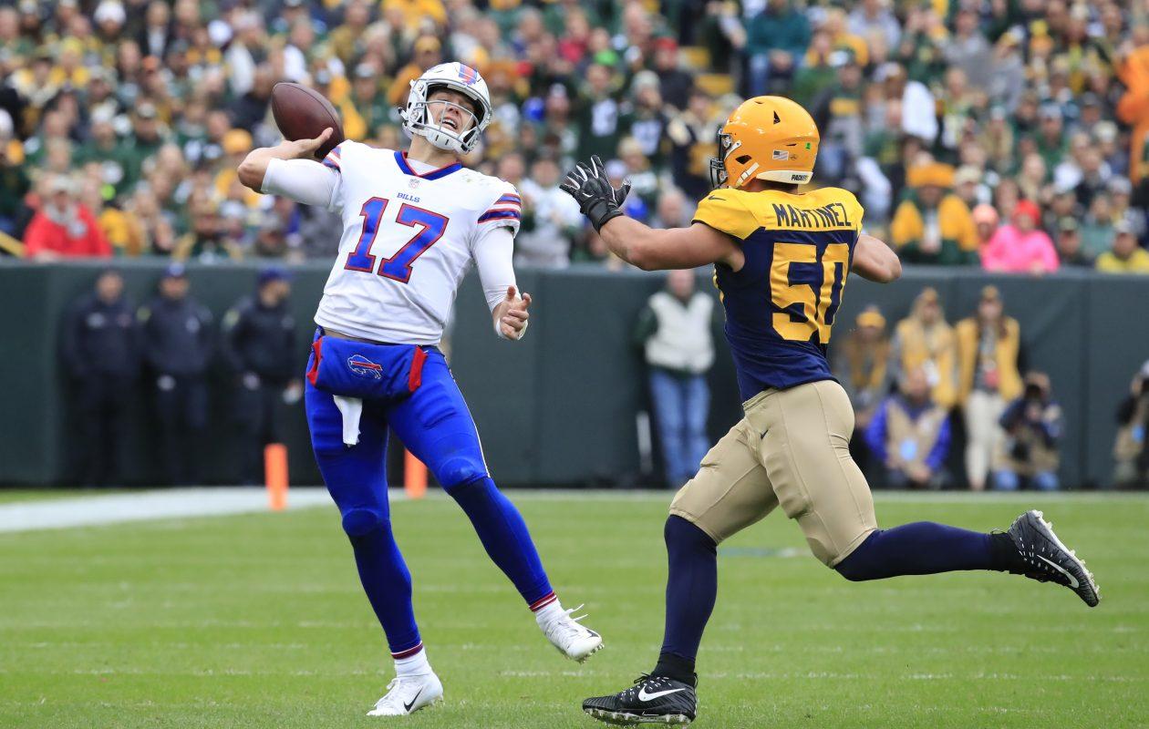 Bills quarterback Josh Allen throws a second-quarter interception. (Harry Scull Jr./Buffalo News)