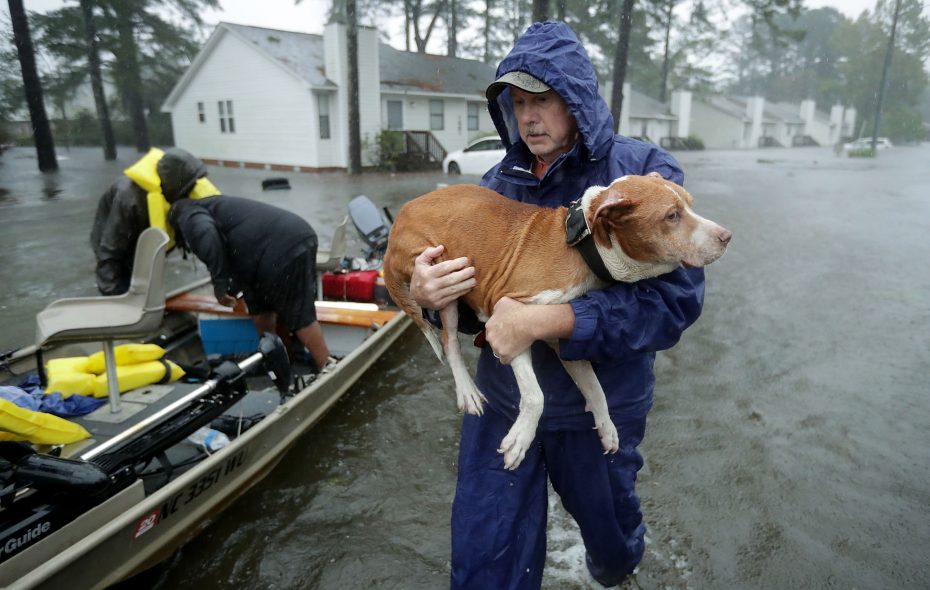 Volunteers from all over North Carolina help rescue residents and their pets from their flooded homes during Hurricane Florence Sept. 14, 2018, in New Bern, N.C. (Getty Images)