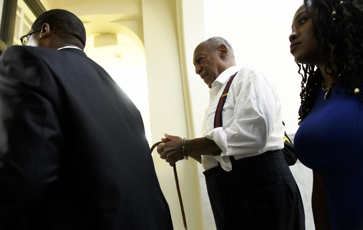 Bill Cosby is taken away in handcuffs after being sentenced to 3-10 years in his sexual assault retrial at the Montgomery County Courthouse on Sept. 25, 2018, in Norristown, Pa. (Getty Images)