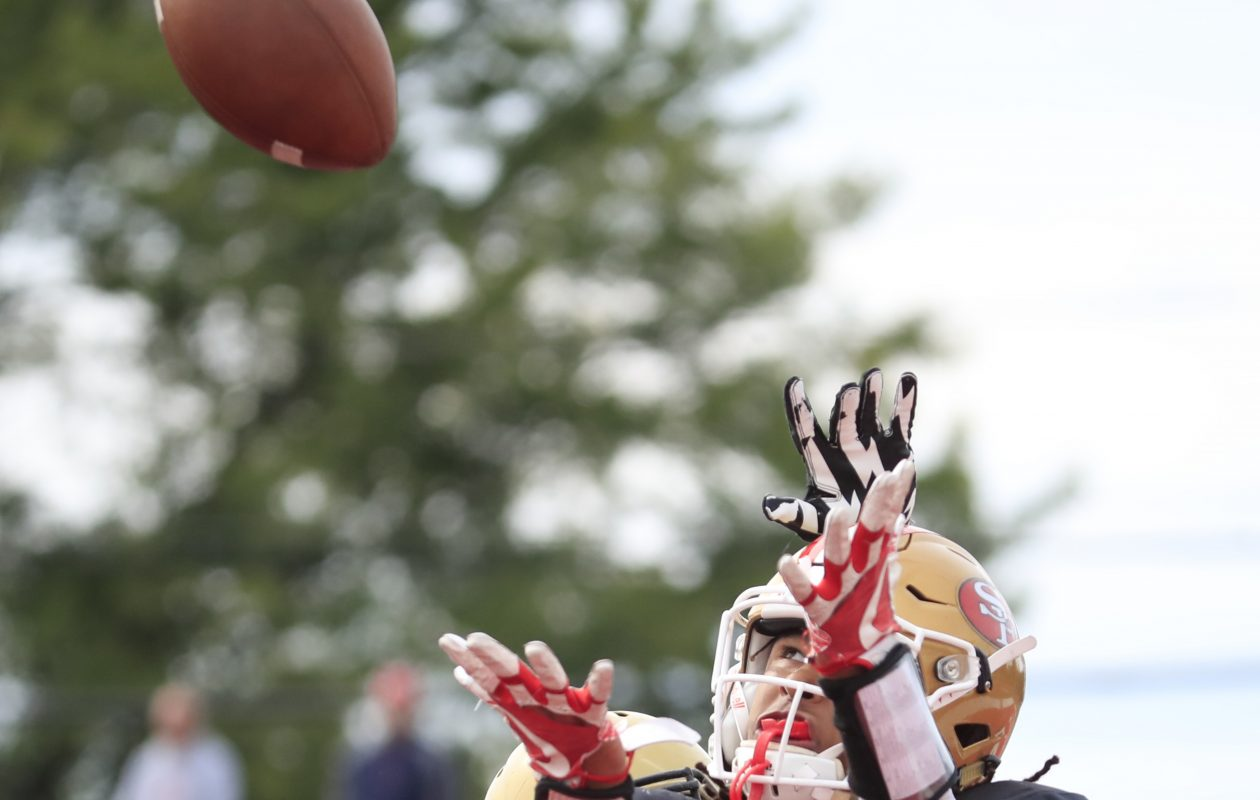 St. Francis receiver Dominik Thomas catches a touchdown against Cardinal O'Hara during second half action at St. Francis high school on Saturday, Sept. 22, 2018. (Harry Scull Jr./ Buffalo News)