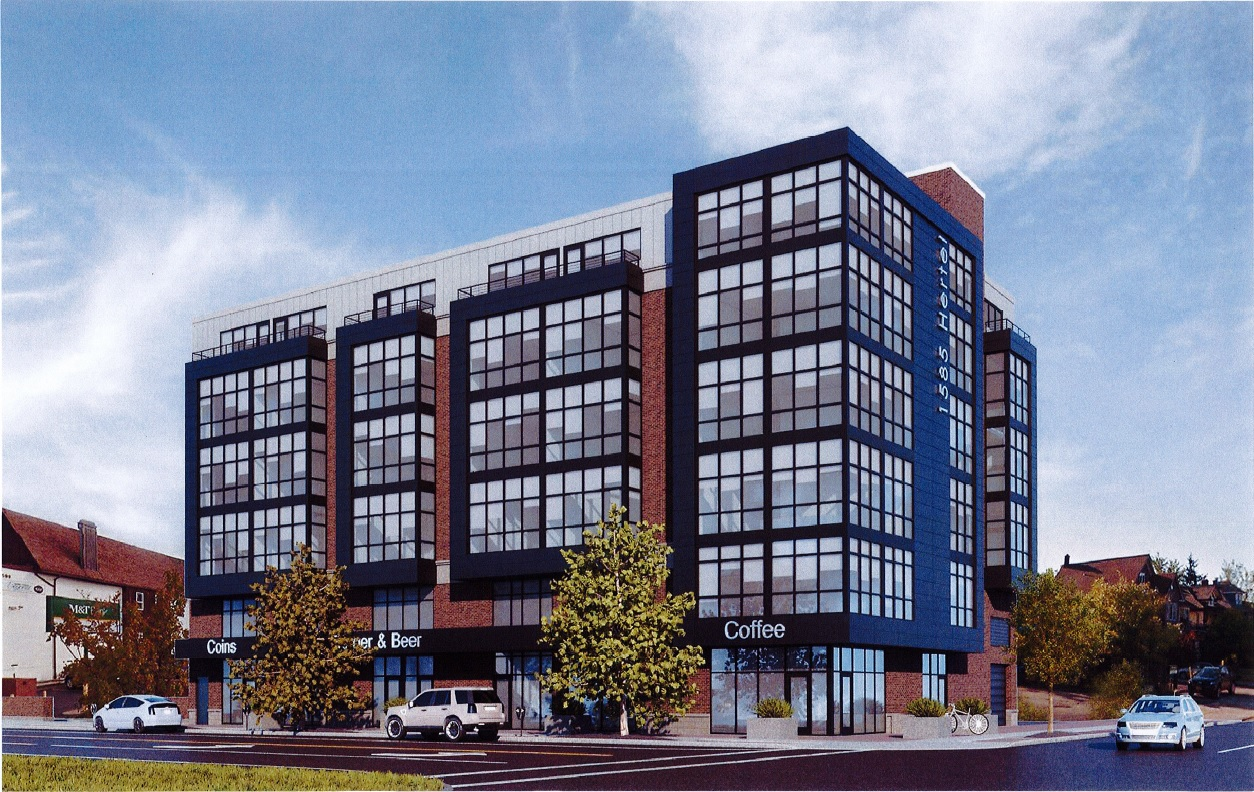 A company rendering shows the five-story building now under construction at 1585 Hertel Ave.