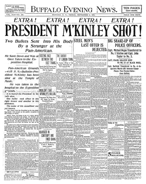 Take a look back at the front pages of The Buffalo Evening News from September 1901. President McKinley was shot at the Pan-American Exposition on Sept. 6, 1901, but he held on — and his health even improved shortly — until he died on Sept. 13, 1901.
