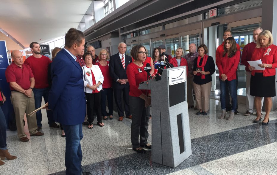 Families of Continental Flight 3407 joined Rep. Brian Higgins on Sept. 24, 2018, to urge Congress to pass legislation maintaining flight safety standards. (Barbara O'Brien/Buffalo News)