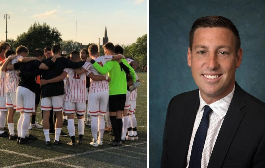 The Buffalo State men's soccer team faces former head coach Mark Howlett, now at the helm of the Geneseo Knights, on Friday. (Ben Tsujimoto/Buffalo News; Geneseo Athletics)