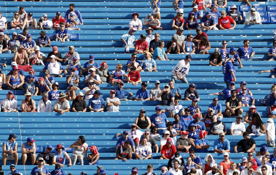Buffalo Bills fans start to leave their seats in the fourth quarter at New Era Field Sunday. (Mark Mulville/Buffalo News)