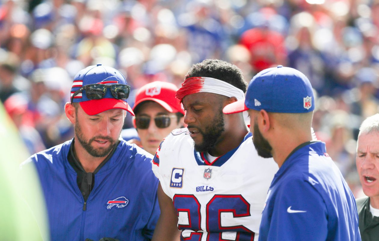 Buffalo Bills running back Taiwan Jones was hit in the head without his helmet while trying to advance a fumble recovery. Jones needed 11 stitches, but did not suffer a concussion. (James P. McCoy/Buffalo News)