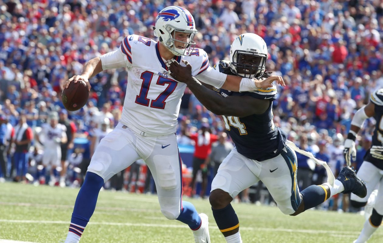 Josh Allen says getting the ball out of his hands faster is a priority. (James P. McCoy/News file photo)