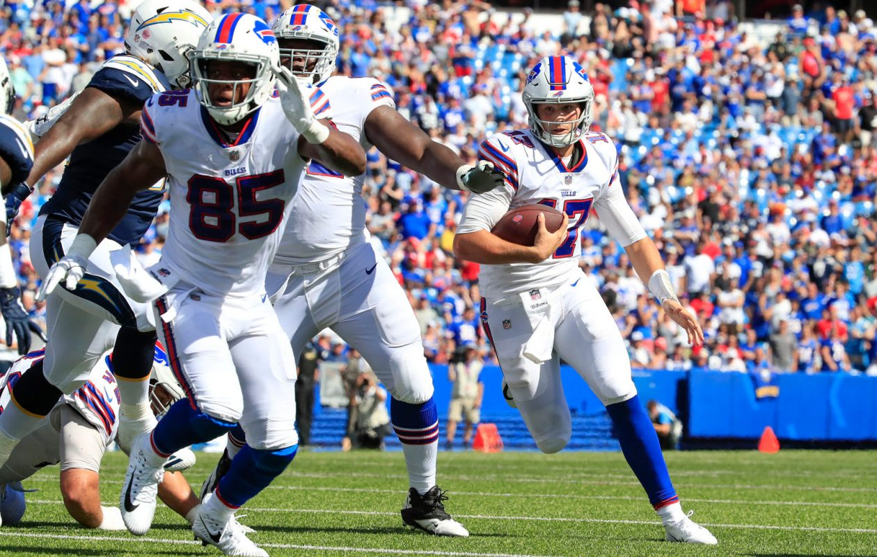 Buffalo Bills quarterback Josh Allen runs with the ball against the Los Angeles Chargers during the third quarter at New Era Field in Orchard Park on Sunday, Sept. 16, 2018. (Harry Scull Jr./Buffalo News)