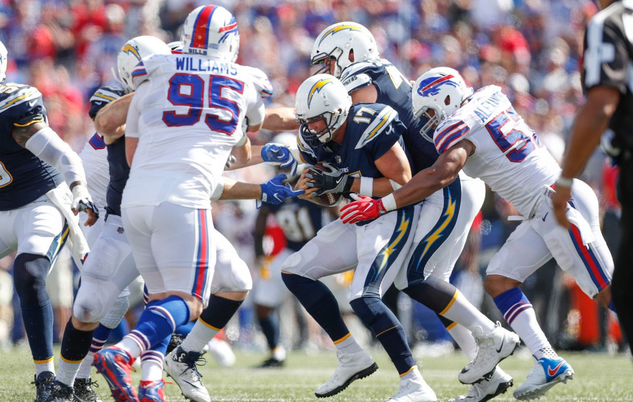 The Buffalo Bills started to get more pressure on the passer in the second half of Sunday's loss to the Chargers. (Mark Mulville/Buffalo News)