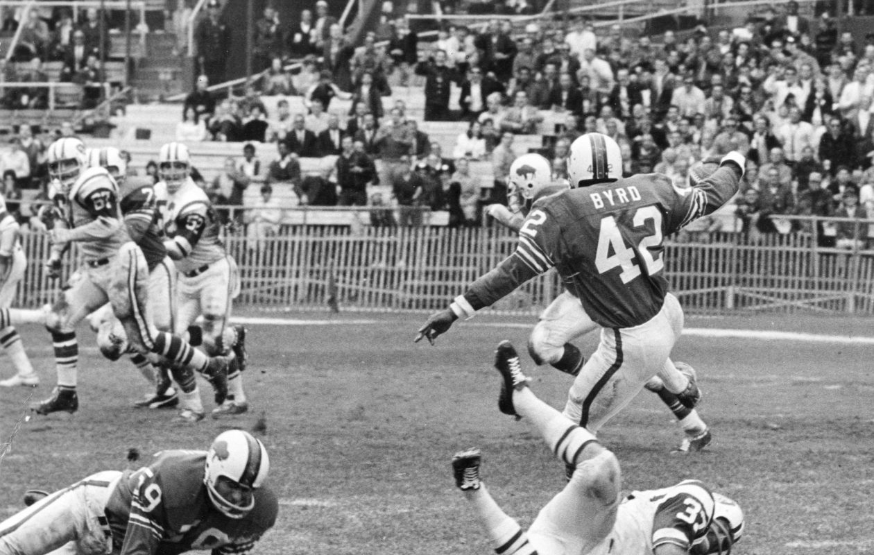 Butch Byrd. a Buffalo Bills defensive back, intercepts New York Jets quarterback Joe Namath on Sept. 29, 1968, in the Bills' 37-35 victory. It was the only game the Bills won that season. (News file photo)