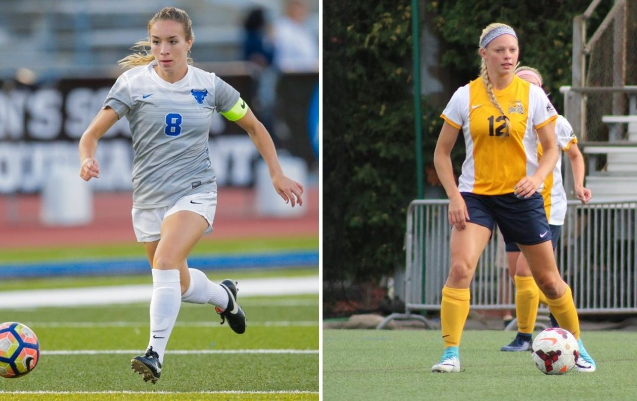 UB senior Carissima Cutrona, left, will square off with Canisius senior Melanie Linsmair, right, on Thursday at UB. (via UB Athletics; Marshal Filipowicz, Canisius Athletics)