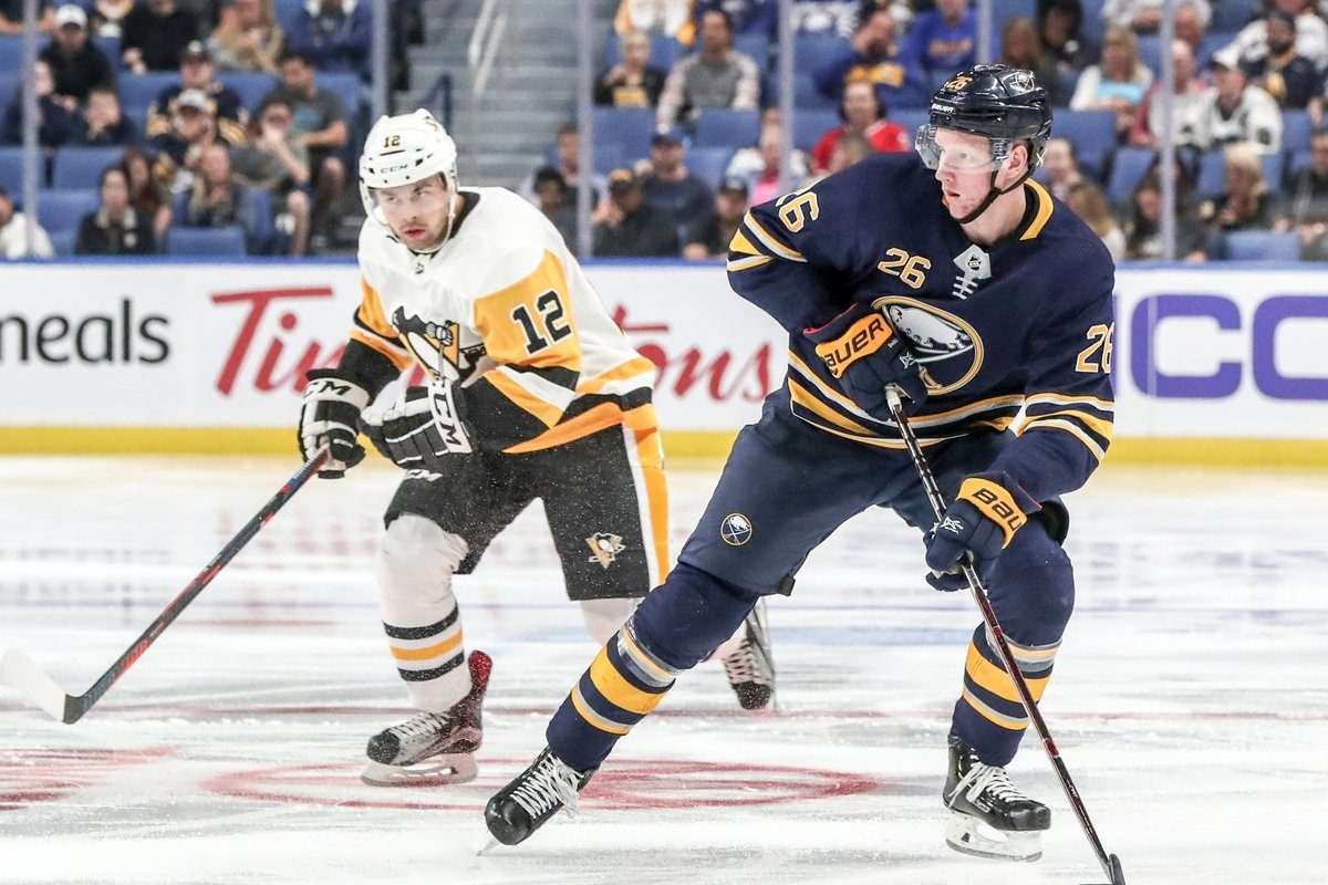 Rasmus Dahlin has 13 points in 25 games for the Sabres this season. (James P. McCoy/Buffalo News).